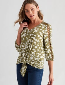 Rockmans 3/4 Sleeve Lace Insert Top