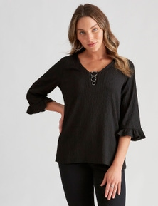 Rockmans 3/4 Sleeve Ring Detail Texture Top