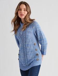 Rockmans 3/4 Sleeve Curve Hem Button Knit