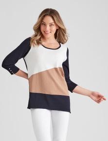 Rockmans 3/4 Sleeve Asymmetric Colour Block Knit