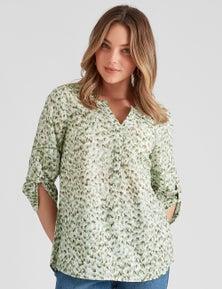 Rockmans Elbow Sleeve Woven Texture Shirt