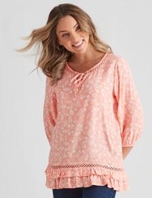 Rockmans Long Sleeve Woven Floral Lace Trim Blouse