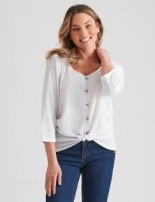 Rockmans Long Sleeve Woven Tie Front Button Shirt
