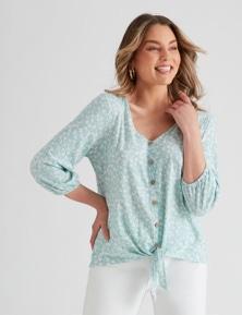Rockmans Knit 3/4 Sleeve Mock Button Top