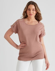 Table Eight Extended Sleeve Metal Detail Knit