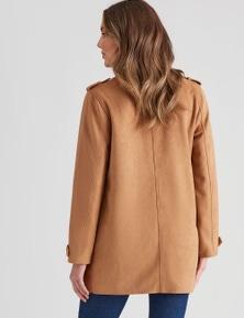 Rockmans Long Sleeve Suedette Coat