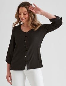 Rockmans 3/4 Sleeve Textured Shirt Style Top