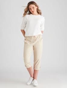 Rockmans Crop Linen Pant