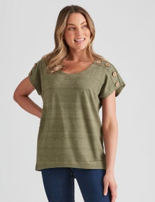 Rockmans Extended Sleev Button Detail Top