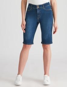 Rockmans Knee Length Denim Wash Short