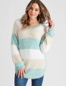 Rockmans Long Sleeve Fuzzy Stripe Knit