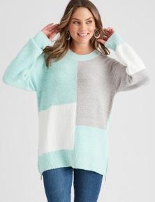 Rockmans Long Sleeve Neutral Colour Block Knit