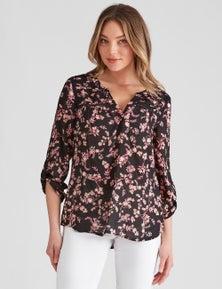Rockmans 3/4 Sleeve Woven Pintuck Lace Shirt