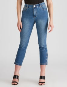Rockmans 7/8 Slim Leg Eyelet Jean