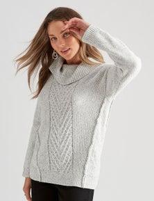 Rockmans Long Sleeve Chenille Cowl Knit