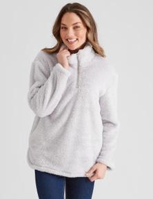 Rockmans Long Sleeve Fleece Half Zip Jumper