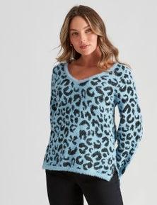 Crossroads Fluffy Leopard Knit