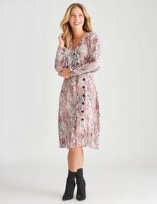 Crossroads Side Button Woven Dress