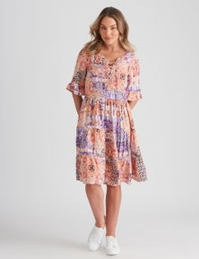 Rockmans Woven Lace Up Knee Length Dress