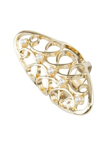FILIGREE PEARL FINGER RING
