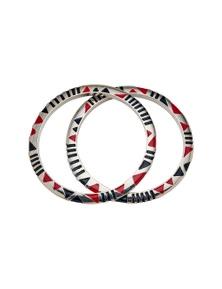 Amber Rose Boho Enamel Bracelet Twin Set