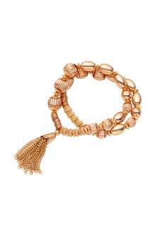 Amber Rose Gold Multi Bead Bracelet