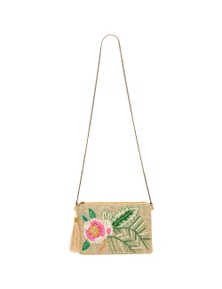 Amber Rose Jute Clutch With Raffia Detail