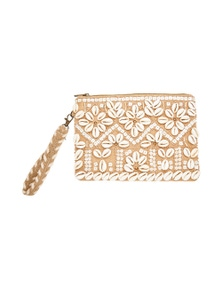 Amber Rose Shell Jute Clutch
