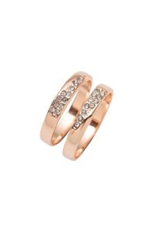 Amber Rose Wedge Cut Crystal Ring Set