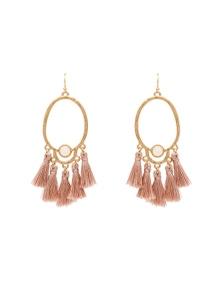 Amber Rose Oval Tassel Earring