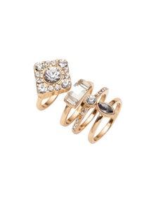 Amber Rose Crystal Stacker Rings