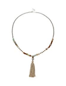 Amber Rose Multi Bead Tassel Necklace