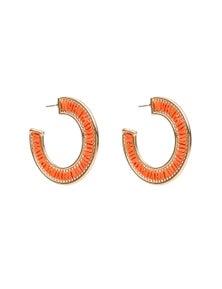 Amber Rose Raffia Hoop Earrings