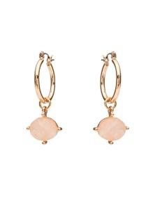 Amber Rose Natural Stone Mini Drop Hoop