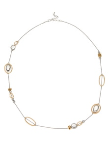 Amber Rose Station Rope Two Tone Necklace