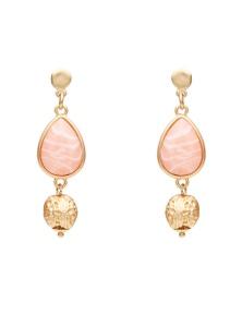 Amber Rose Teardrop Stone Earrings