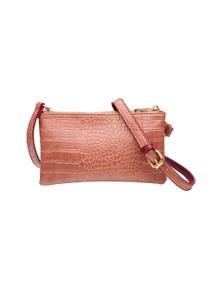 Amber Rose Embossed Twinzip Shoulder Bag