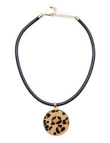 Amber Rose Leopard Ponyskin Pendant