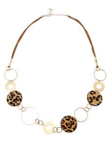 Amber Rose Leopard Ponyskin Rop Necklace