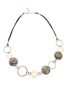 Amber Rose Snake Embossed Pu Rope Necklace