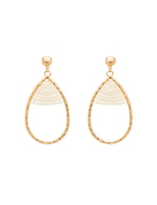 Amber Rose Teardrop Pearl Earrings