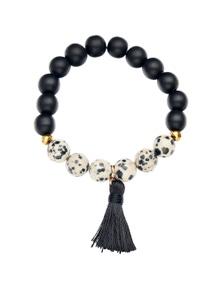 Amber Rose Stone Tassel Bracelet