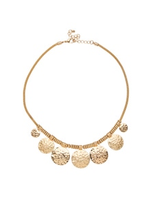Amber Rose Round Battered Necklace