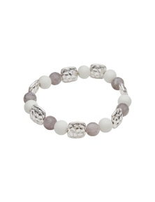 Amber Rose Glass Beads Stretch Bracelet