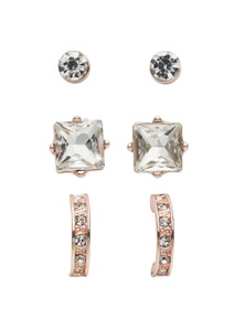 Amber Rose Crystal Stud Earring Set