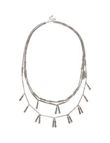 Amber Rose Metal Rope Leaf Necklace