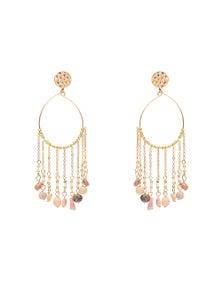 Amber Rose Natural Stone Chandelier Earrings