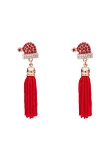 Amber Rose Xmas Hat Tassel Earring