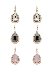 Amber Rose Crystal Drops Earring Set