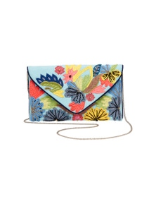 Amber Rose Tropical Embroidery Clutch